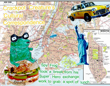 Spy Frog in New York.  Original Collage Approx A4 in recycled frame. £10