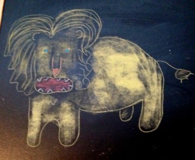 chalk board lion